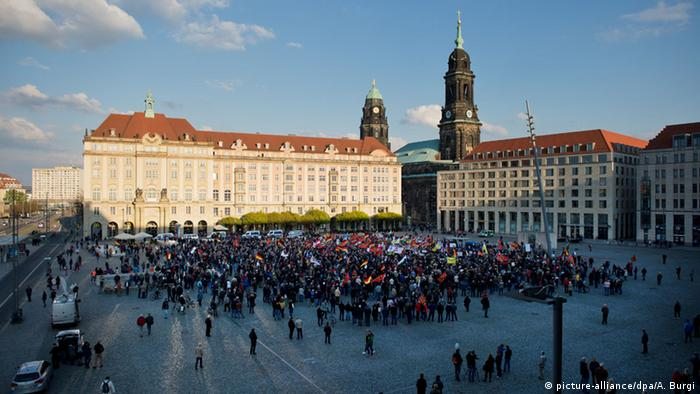 Pegida Demonstrators at Dresden's Altmarkt in 2016