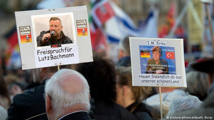 Bachmann supporters rallied in Dresden demanding a 'not guilty' verdict
