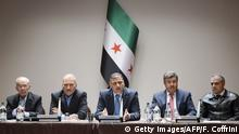 18.04.2016 Syrian opposition body (HCN) members (From L -R) : Syrian Chairman of the National Coordination Committee for the Forces of Democratic Change Hassan Abdel Azim, member of the Syrian National Coalition and the National Coordination Body Safwan Akkash, Head of the High Negotiation Committee (HNC) Riad Hijab, HNC spokesman Salem al-Meslet and HCN delegation head Asaad al-Zoabi attend a meeting of the HNC delegation on the sideline of Syrian Peace Talks on April 18, 2016 in Geneva. Key Syrian rebel groups vowed on o April 18 to strike back against alleged regime ceasefire violations, casting doubt on the future of fragile peace talks due to resume in Geneva.A truce agreed in February dramatically curtailed violence across much of Syria, but fighting has surged in recent days around second city Aleppo, causing tens of thousands to flee. / AFP / FABRICE COFFRINI (Photo credit should read FABRICE COFFRINI/AFP/Getty Images) Copyright: Getty Images/AFP/F. Coffrini