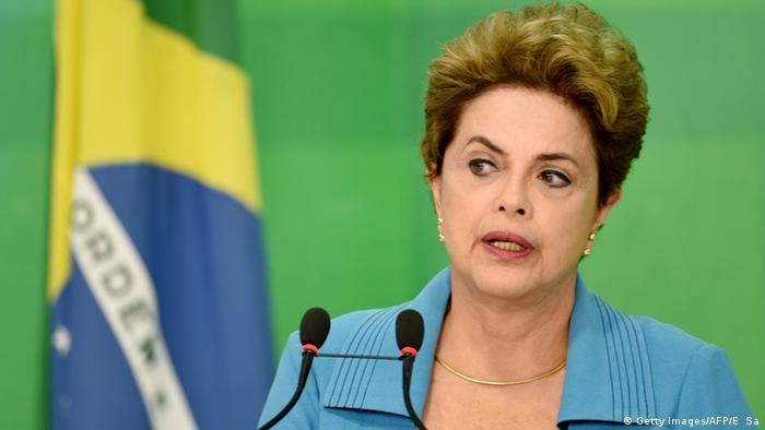 Brazilian President Dilma Rousseff speaks during a press conference at Planalto Palace in Brasilia on April 18, 2016