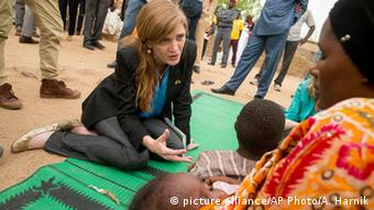 Samantha Power talks with women and children in Cameroon