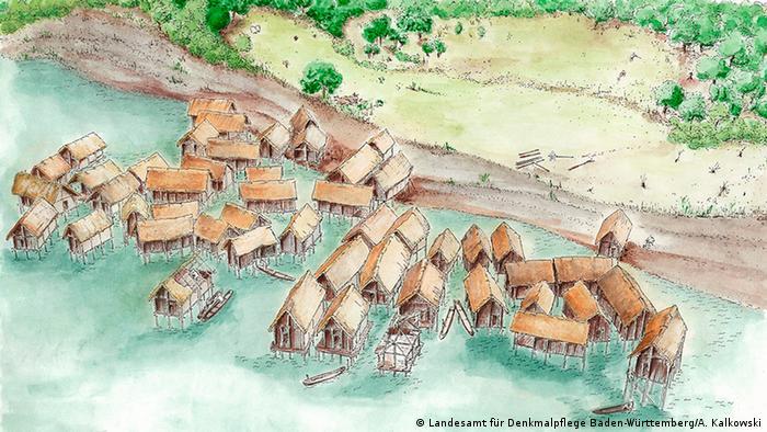Реконструкция свайного поселения в районе Хорнштада на Боденском озере