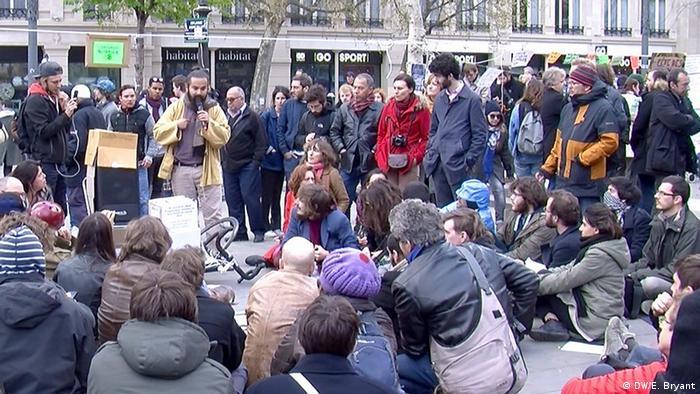 People gather on the Place de la Republique, in Paris