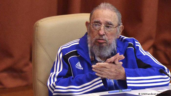 Cuba's former president Fidel Castro attends the closing ceremony of the seventh Cuban Communist Party (PCC) congress in Havana, Cuba