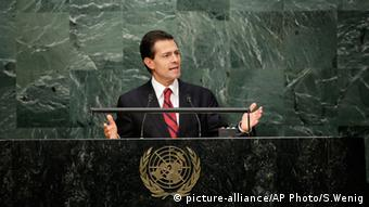 Mexican President Enrique Pena Nieto addresses the UN General Assembly in New York, September 28, 2015.