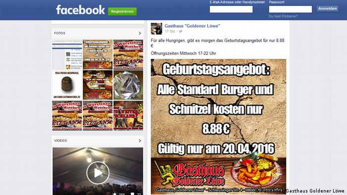 Screenshot of the Facebook page of Gasthaus Goldener Löwe