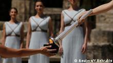 Griechenland Olympisches Feuer Fackel Flamme Entzündung
