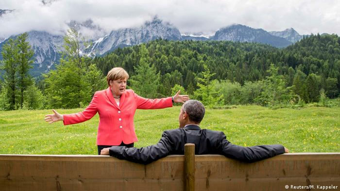 Angela Merkel and Barack Obama in the Bavarian Alps (Reuters/M. Kappeler)
