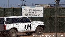March 5, 2016 The vehicle of United Nations chief Ban Ki-moon enters a UN base in Bir-Lahlou, in the disputed territory of Western Sahara, situated 220 kilometres (137 miles) southwest of the Algerian town of Tindouf, on March 5, 2016. / AFP / Farouk Batiche (c) Getty Images/AFP/F. Batiche