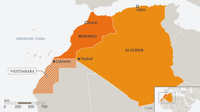 Karte Marokko Algerien Westsahara Deutsch