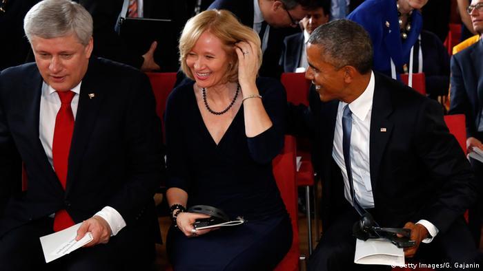 Барак Обама и Лаурин Харпер на саммите G7 в замке Эльмау