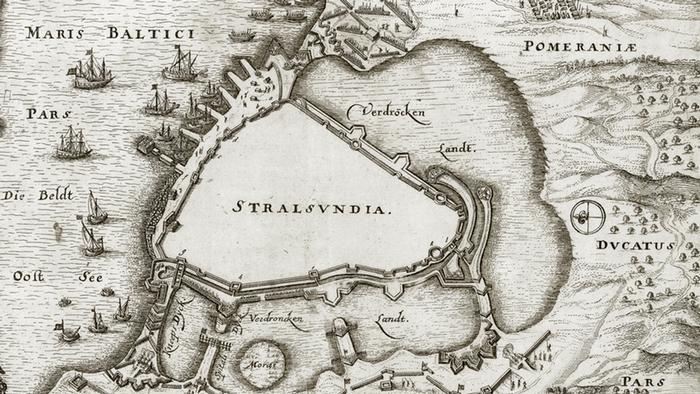 Карта осады Штральзунда во время Тридцатилетней войны