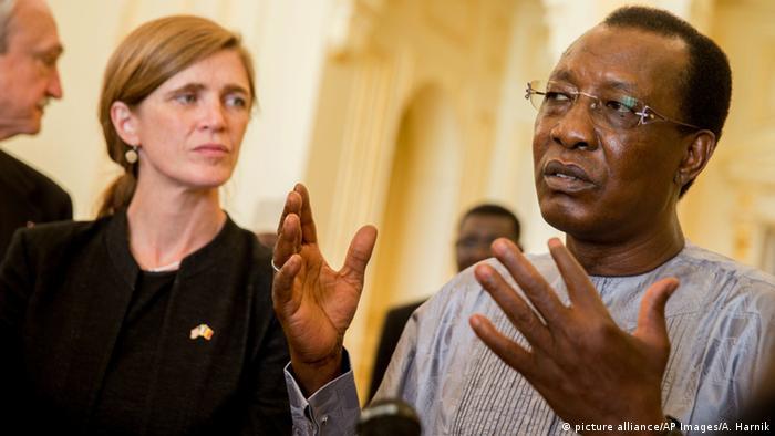 Chadian President Idriss Deby addressing the media next to US ambassador Samantha Power.