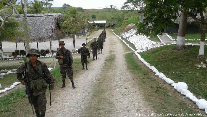 Guatemala army troops at the border with Belize
