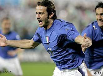 Alberto Gilardino of Italy after scoring on the 4th minute in the German-Italian international friendly on March 1, 2006