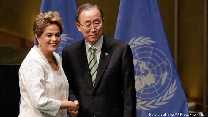 USA Unterzeichnung Paris-Abkommen Dilma Rousseff und Ban Ki-moon