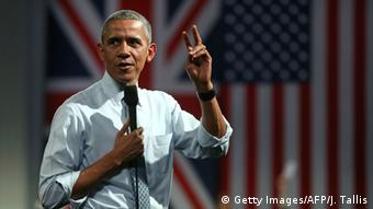 US President Obama gestures at a Town Hall Meeting in Britain where he voiced his opposition to a Brexit.
