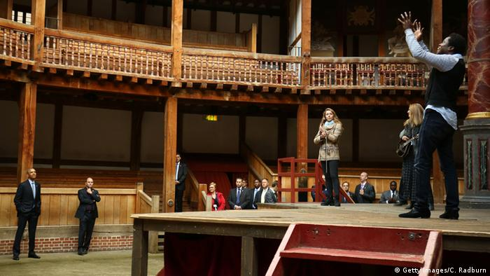 US President Barack Obama watches a performance during a visit to the Globe Theatre in London to mark the 400th anniversary of the death of William Shakespeare on April 23, 2016 in London, England (Photo: Getty Images/C. Radburn)