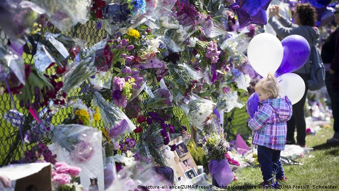 Floral tributes for the artist Prince who died last week