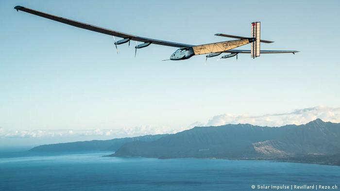 Solar Impulse 2 over the sea on the west coast of the USA