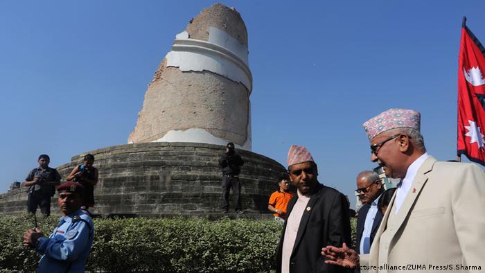 Prime Minister K.P Sharma Oli at Dharahara tower