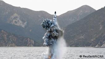 Запуск северокорейской ракеты с подводной лодки