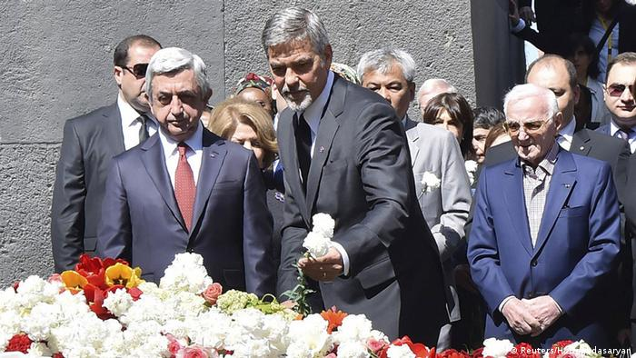 George Clooney at memorial in Armenia Copyright: Reuters/H. Baghdasaryan