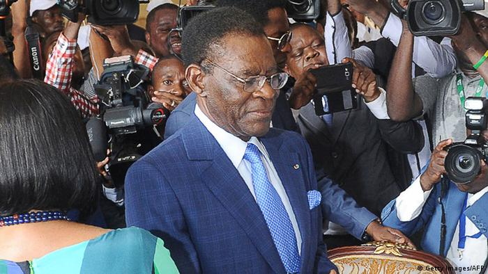 Equatorial Guinea incumbent president and candidate Teodoro Obiang Nguema