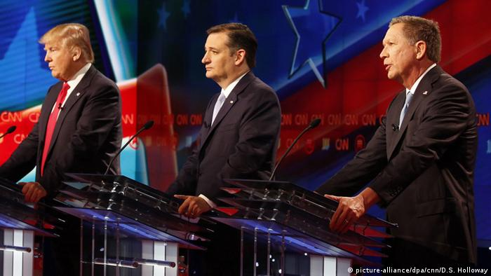 Donald Trump, Ted Cruz and John Kasich during the CNN Republican primary debate of March 10, 2016.