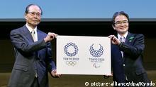 Japan Tokio Sadaharu Oh Ryohei Miyata präsentieren das neue Logo für die Olympischen Spiele 2020