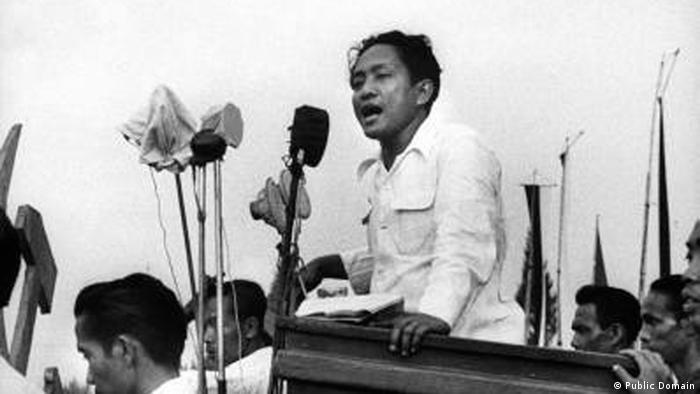 Indonesien Aidit bei PKI-Wahlveranstaltung 1955