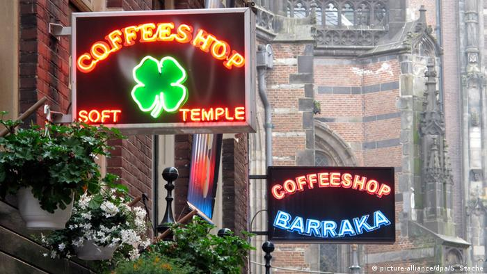 Coffeeshop signs in Amsterdam, Netherlands.