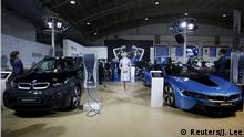 China Peking Automesse BMW i8 plug-in hybrid sports car and a new BMW i3 electric car (Reuters/J. Lee)
