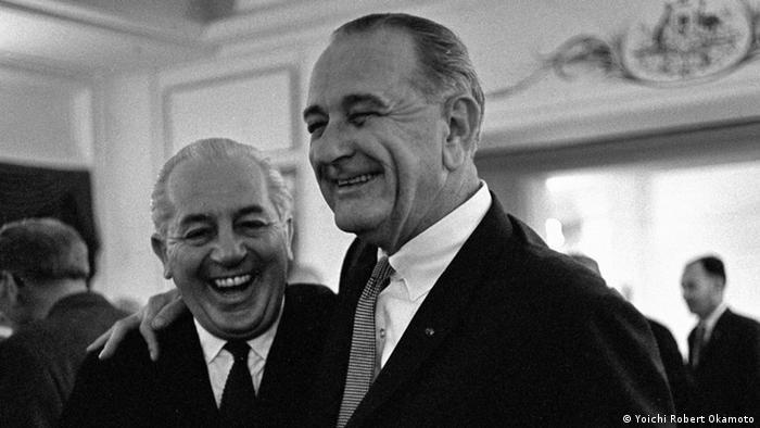 Harold Holt and Lyndon B. Johnson