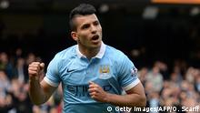 April 23, 2016. Manchester City's Argentinian striker Sergio Aguero celebrates after scoring their second goal from the penalty spot during the English Premier League football match between Manchester City and Stoke at the Etihad Stadium in Manchester, north west England, on April 23, 2016. / AFP / OLI SCARFF / RESTRICTED TO EDITORIAL USE. No use with unauthorized audio, video, data, fixture lists, club/league logos or 'live' services. Online in-match use limited to 75 images, no video emulation. No use in betting, games or single club/league/player publications. / (c) Getty Images/AFP/O. Scarff