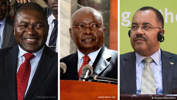 Atual chefe de Estado de Moçambique, Filipe Nyusi, ex-Presidente Armando Guebuza e ex-ministro das Finanças Manuel Chang (da esq. para a dir.)