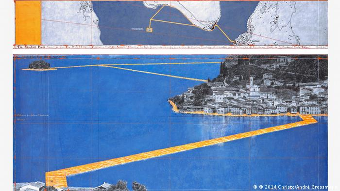 Christo : The Floating Piers Skizze Photo: André Grossmann © 2014 Christo
