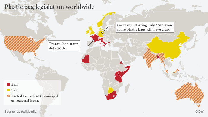 Infografik Weltweite Regulierungen von Plastiktüten Englisch