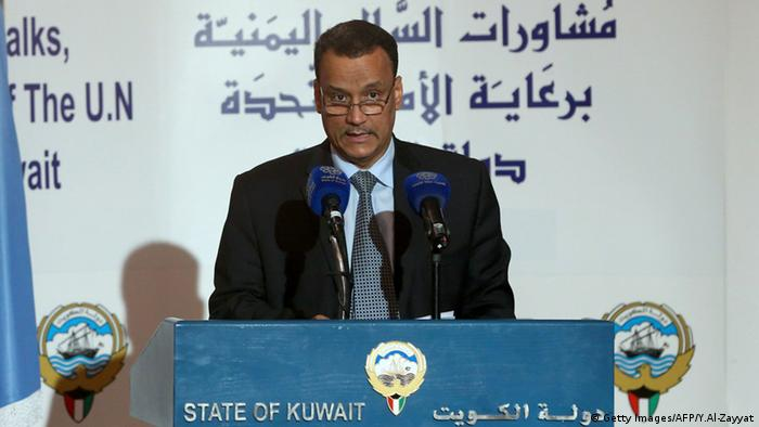 Kuwait Irak Friedensgespräche Jemen Ismail Ould Cheikh Ahmed speaks (Getty Images/AFP/Y.Al-Zayyat)