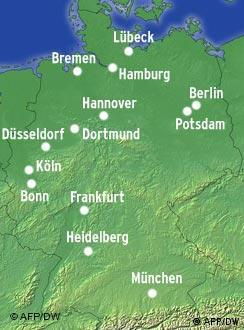 geografska karta nemacke gradovi Geografski položaj Njemačke | Njemačka izbliza | DW | 16.06.2008 geografska karta nemacke gradovi