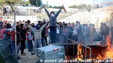 Flüchtlinge auf Lesbos lieferten sich diese Woche gewalttätige Auseinandersetzungen mit der griechischen Polizei