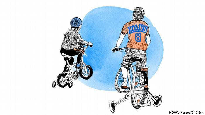 Illustration zum Sprichwort Was Hänschen nicht lernt, lernt Hans nimmermehr (Bild: Antje Herzog)