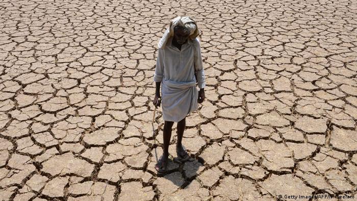 Indien Telangana Trockenheit Wassermangel Baumwollfeld