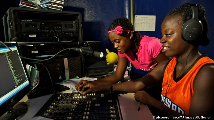 Women in a radio station