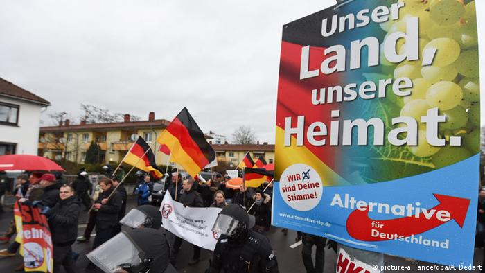 AfD banner at a Pegida demonstration Copyright: picture-alliance/dpa/A. Dedert