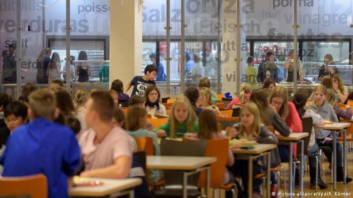 A picture of a German school cafeteria