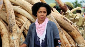 Paula Kahumbu stands in front of a pile of ivory Photo: Andrew Wasike