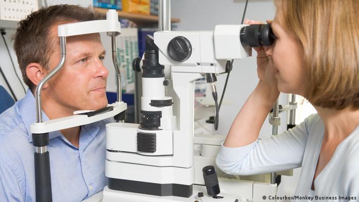 Man having eyes checked