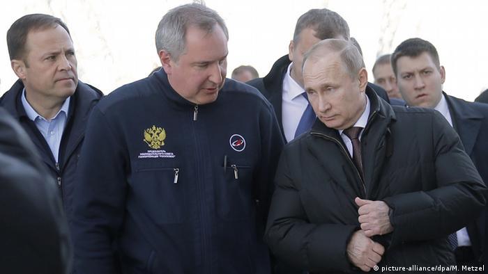 Russland Vostochny Cosmodrome - Start von Sojus Rakete - Rogozin & Putin