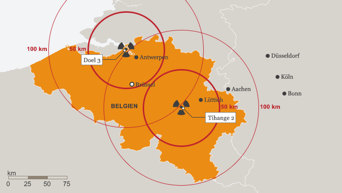 Map of Belgian power stations